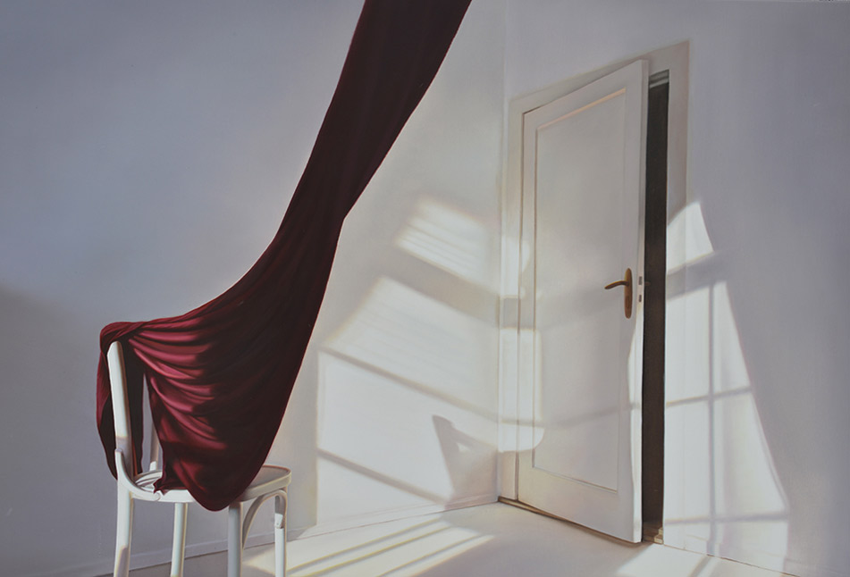 """Door with Red"" 2011, Oil on Canvas, 130 x 120 cm"